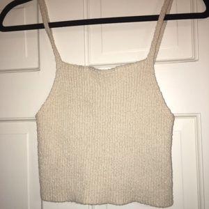 Cropped spaghetti strap sweater top